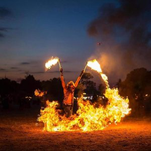siam flash powder fire show effect lycopodium samui circus studio