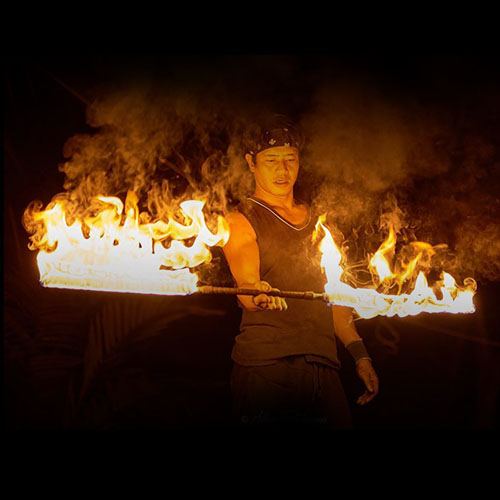 original thai long fire staff samui circus studio fire show fireshow koh samui thailand firemen long fire stick